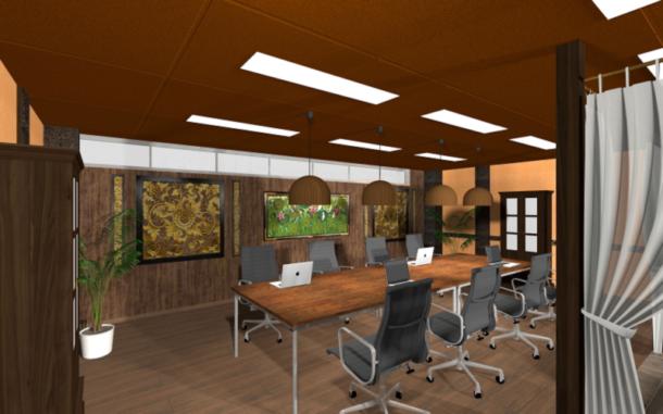 バリ島コンドミニアムをイメージしたミーティングスペース